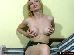 Breathtaking shemale with large melons rubbing her stiff pecker