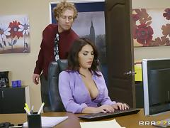 Office, Blowjob, Couple, Cowgirl, Cumshot, Curly
