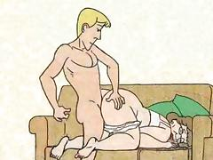 Boy fucked granny in the dog-style and cums! Animation!