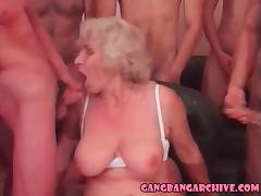 Gangbang Archive Blonde granny orgy party