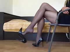 Boots, Black, Boots, Footjob, Heels, Homemade