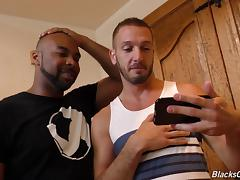 Interracial gay adventure with the chocolate dude and his white pal
