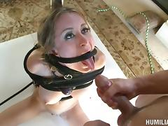 Naughty blonde tart gets tied up and hammered with a long shaft
