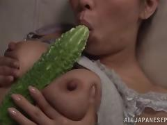 While cleaning up her garage, she got very horny suddenly