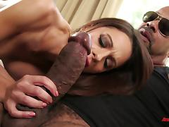 Black monster member for a fortunate brunette's horny hole