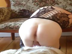 Lonely diva: dreaming stretching in fur nylons lingerie