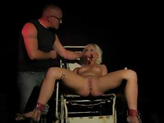 Jill tide to chair gets toyed and fucked
