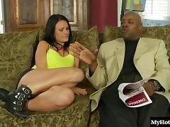 Big tits brunette awarding dick blowjob in interracial porn