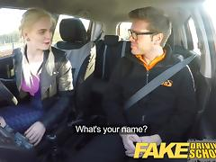 Fake Driving School big tits student creampie and squirting