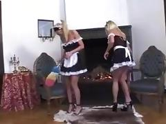 three blonde lesbian maids