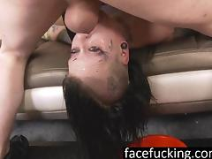 Tatted Whore throat fucked to puke