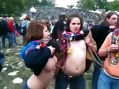 Crazy chicks flashing their tits