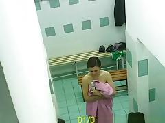 Women naked in locker room