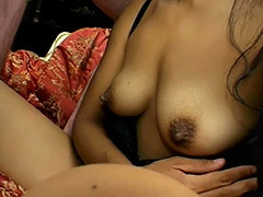 Amateur Brunette with Big Nipples and Hairy Cunt is Fucked and Her Pussy Covered with Semen