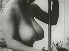 Busty Mom Sunbathing and Cleaning 1950