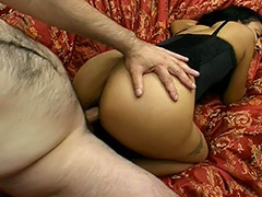 Brunette Long Haired Latina Amateur with Big Nipples and Hairy Pussy is Being Fucked on a Sofa and Her Pussy is Being Cummed On