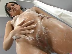Sexy brunette Suzy washes her pussy and fingers