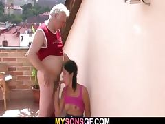 Horny dad bangs his son's GF
