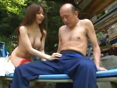 Japanese hottie Miki Itoh fucks some old dude outdoors