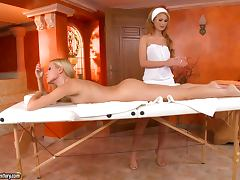 Lesbian Fun On A Massage Table With Antonya And Sophie