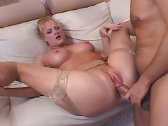 Milf gets hard fucked on couch