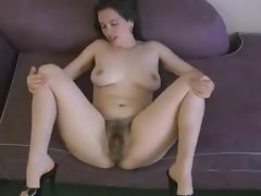 Kinky dark haired girl shows off her ugly hairy snatch