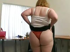 Fat blonde shows off her hairy cunt and pounds it with a dildo