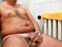 Wanking my hard cock in the bathroom with mega cumshot