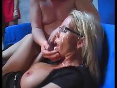 mature blonde bukkake