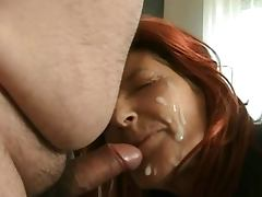 Redhead mature in stilettos gets BIG facial from hubby