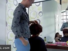 Hairdresser fucks client in ass in salon