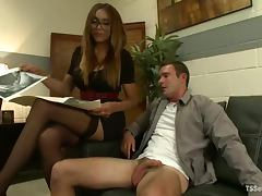 Smoking hot shemale makes her student ride her penis