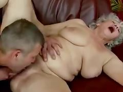 Young man have lick cunt of old lady