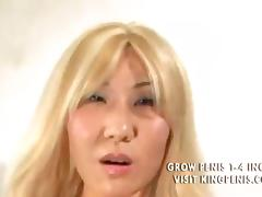 Blond Asian chick nailed deep in all holes