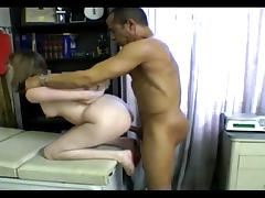 Hot girl gets on her knees and sucks a massive cock