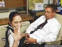 Sexy Dick Loving Secretary Sucks Her Boss' Schlong