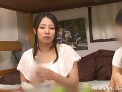 Hot Japanese girl rides and sucks a cock in a dormitory