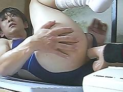 Korean Tranny vs. Fucking Machine NO HANDS CUM