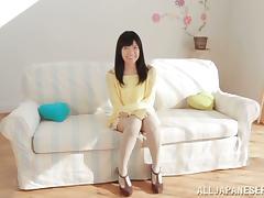 Petite Kana Aono undresses and fondles her vagina