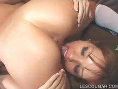 Teen and cougar licking cunt in lesbian sixtynine
