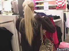 Cindy Dollar facial jizz flow in shopping center