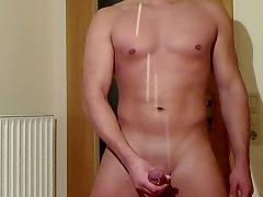 giant cumshot - huge 11 spurts long distance sperm foutain