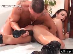 Hardcore anal dildoing scene with slutty brunette