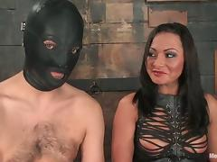 Masked Guy Strapon Fucked by Dominant Sandra Romain in BDSM
