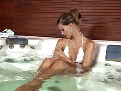 Gorgeous Babe in White Bikini Masturbating in the Jacuzzi