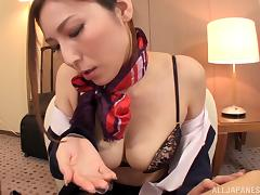 Hot Japanese stewardess gives a blowjob in POV video