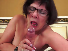 Bedroom, Bedroom, Blowjob, Brunette, Fat, Glasses