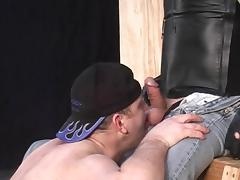 Chubby gay guy sucks cock