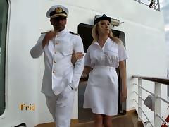 Busty blond stewardess fucks her captain