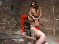 Brandon gets his butt beaten by Kym Wilde in a basement